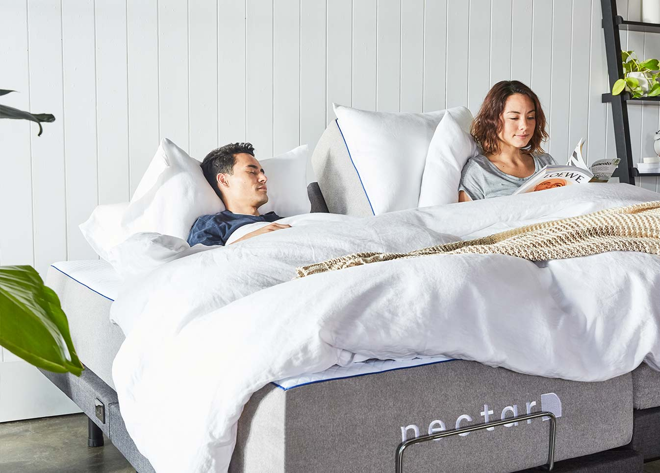 couple relaxing on Nectar's adjustable bed
