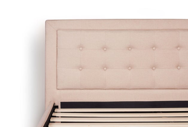 Metal Frame With Button Tufted Headboard