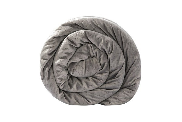 rolled up weighted blanket